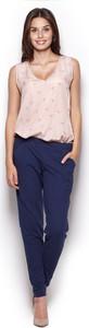 Niebieskie spodnie Figl w stylu casual z bawełny