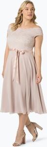 Różowa sukienka Swing Curve z krótkim rękawem midi z satyny