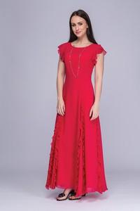 Czerwona sukienka Semper maxi z okrągłym dekoltem