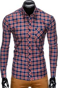 Koszula Edoti.com w stylu casual z długim rękawem z klasycznym kołnierzykiem