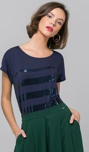 Granatowa bluzka Monnari w stylu glamour z okrągłym dekoltem z krótkim rękawem
