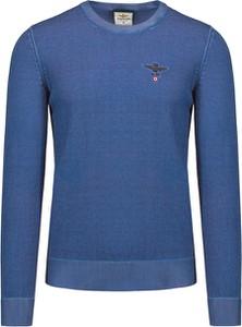 Granatowy sweter Aeronautica Militare w stylu casual z bawełny