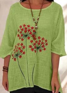 Zielona bluzka Cikelly z okrągłym dekoltem z długim rękawem
