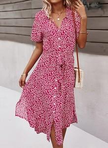 Sukienka Arilook z dekoltem w kształcie litery v z krótkim rękawem midi