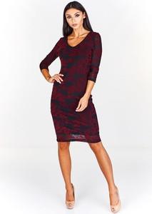 Czerwona sukienka Fokus z tiulu z długim rękawem dopasowana