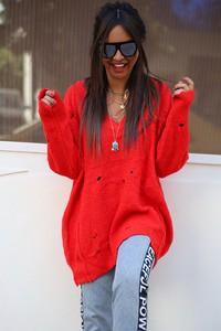Czerwony sweter damski sweter eleanora red z dzianiny bez wzorów