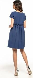 Niebieska sukienka Tessita mini z okrągłym dekoltem