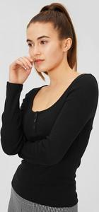 Czarny t-shirt CLOCKHOUSE z okrągłym dekoltem z długim rękawem w stylu casual