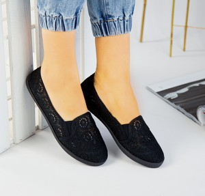 Czarne trampki sklep-szpilka24 z płaską podeszwą z tkaniny