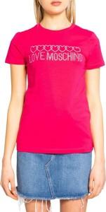 Różowy t-shirt Love Moschino w młodzieżowym stylu