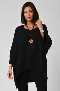 Czarna bluzka Plus Size Company z długim rękawem w stylu casual