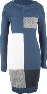 Sukienka bonprix bpc bonprix collection w geometryczne wzory z dzianiny dopasowana
