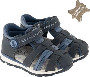 Granatowe buty dziecięce letnie Cool Club na rzepy ze skóry