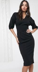 Czarna sukienka Asos z dekoltem w kształcie litery v bandażowa z długim rękawem