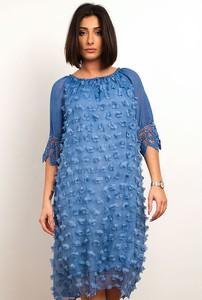 Niebieska sukienka Plus Size Fashion z okrągłym dekoltem z długim rękawem