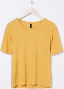 Żółta bluzka Sinsay z krótkim rękawem w stylu casual z okrągłym dekoltem