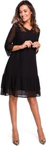Czarna sukienka Merg z długim rękawem z szyfonu