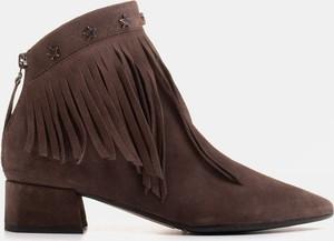 Botki Marco Shoes na zamek w stylu boho z zamszu