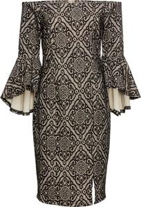 Brązowa sukienka bonprix BODYFLIRT boutique hiszpanka z długim rękawem