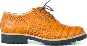 Pomarańczowe półbuty Zapato w stylu boho ze skóry