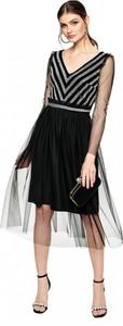 Sukienka L'AF midi z dekoltem w kształcie litery v z tiulu