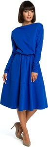 Sukienka Merg z okrągłym dekoltem z długim rękawem midi
