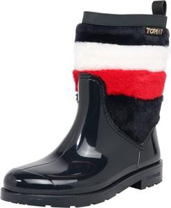 f5a78f00b0823 Czarne kalosze Tommy Hilfiger w stylu casual z płaską podeszwą