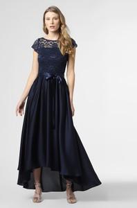 Niebieska sukienka Swing z okrągłym dekoltem maxi z krótkim rękawem
