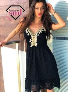 Sukienka Smlfashion.pl w stylu boho z dekoltem w kształcie litery v mini
