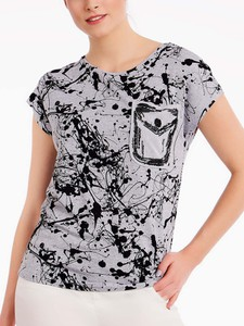 Bluzka POTIS & VERSO z okrągłym dekoltem z tkaniny