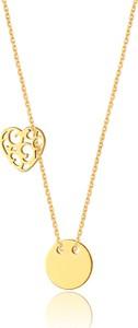 Caviallo Srebrny naszyjnik z ażurowym serduszkiem i kółeczkiem, pozłacany 24 złotem