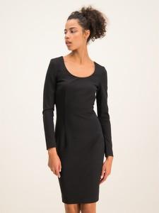 Czarna sukienka Cavalli Class z okrągłym dekoltem w stylu casual prosta