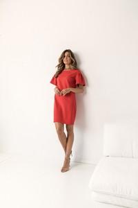Czerwona sukienka Lorenzo z okrągłym dekoltem