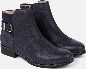 Granatowe buty dziecięce zimowe Mayoral z bawełny na zamek
