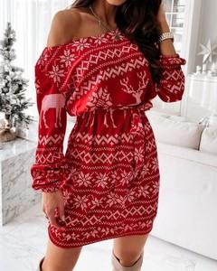 Sukienka Kendallme dopasowana mini w bożonarodzeniowy wzór