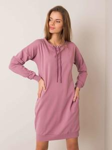 Sukienka Sheandher.pl z bawełny z długim rękawem z okrągłym dekoltem