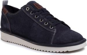 Granatowe buty sportowe Geox z zamszu