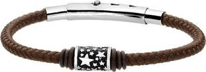 Manoki Brązowa bransoletka męska ze sznurka, beads z gwiazdkami