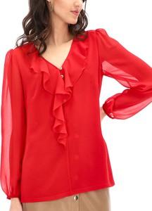 Czerwona bluzka POTIS & VERSO z długim rękawem z żabotem