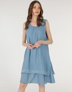 Niebieska sukienka Unisono mini z okrągłym dekoltem na ramiączkach