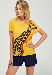 T-shirt Moodo z krótkim rękawem z bawełny w młodzieżowym stylu