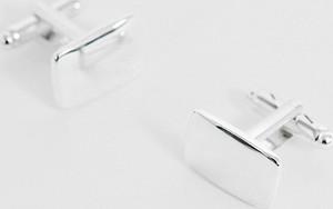 ASOS DESIGN – Kwadratowe spinki do mankietów w srebrnym odcieniu