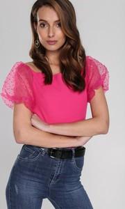 Różowa bluzka Renee z krótkim rękawem
