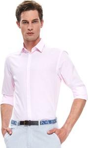 Różowa koszula Top Secret z tkaniny z długim rękawem