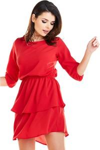 Czerwona sukienka Awama z długim rękawem w stylu casual mini