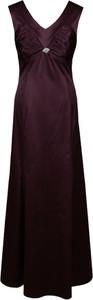 Fioletowa sukienka Fokus trapezowa maxi