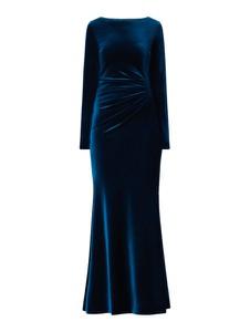 Niebieska sukienka Paradi z długim rękawem maxi z okrągłym dekoltem