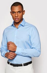 Niebieska koszula Calvin Klein z długim rękawem z klasycznym kołnierzykiem