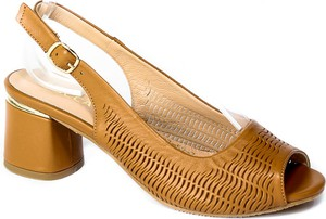 Brązowe sandały Boccato na obcasie z klamrami ze skóry