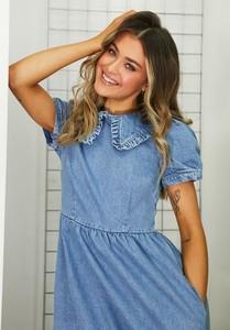 Niebieska sukienka Asos z krótkim rękawem z jeansu